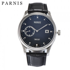 43mm Watch Men Parnis Mens Automatic Watches Black Dial Stainless Steel Case Sea-gull 2555 Leather Male Wristwatch