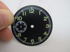 38.9mm Black Watch Dial Green Markers fit ETA 6497 Movement Parnis Watch Case