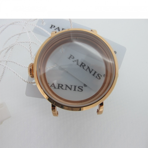 46mm Rose Gold Polished Stainless Steel Watch Case fit 6498 6497 Movement,Watch Part Case with Mineral Crystal Glass