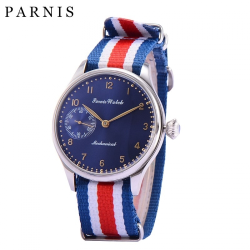 Fashion 44mm Parnis Watches Men Hand Winding Mechanical Dark Blue Dial Stainless Steel Case Men's Wrist Watch Nylon Watchband
