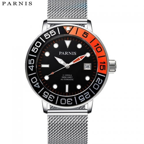 42mm Parnis 21 Jewels Miyota Automatic 10ATM Men Watch 316L Stainless Steel Band PA6056