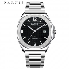 Parnis Mens Watches Top Brand Luxury Steel Mechanical Automatic Watch with Deployment Clasp Black Silver Watch for Men 2018 NEW