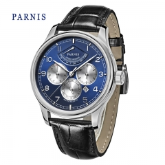 43mm Parnis Sapphire Crystal Miyota Power Reserve Automatic Movement Men's Watch