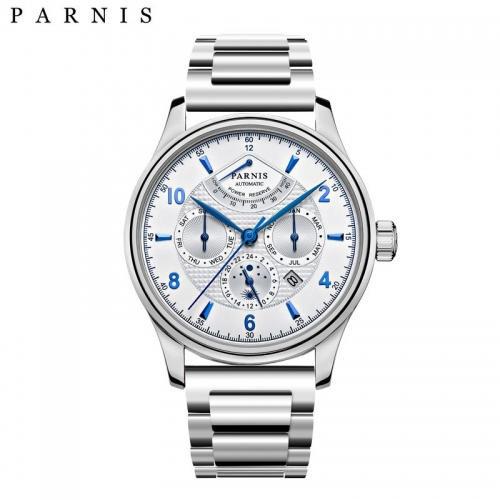 43mm Parnis Miyota Automatic Sapphire Crystal Men's Watch Stainless Steel Band