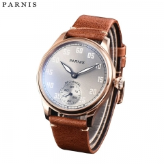 44mm Parnis Hand Winding Movement Men's Pilot Watch Leather Strap Small Second