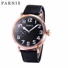 46mm Parnis Mechanical Watches Hand Wristwatch Rose Gold Stainless Steel Case Genuine Leather Watch Mechanical Wristwatch