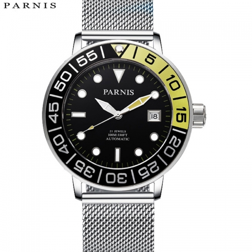42mm Parnis Sapphire Miyota Automatic Mens Mechnical Watch 316L Stainless Steel