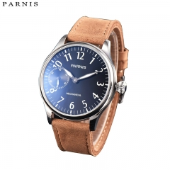 Parnis Hand Wind Mechanical Casual Watch Men Leather 44mm Parnis Hand Winding Men's Watch 17 Jewels Small Second