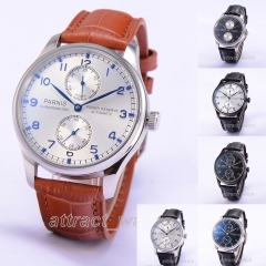 43mm Parnis Power Reserve Automatic Movement Mens Casual Watch Small Second Dial
