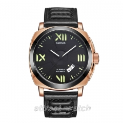 Rose Gold Case, Black Dial, Black Strap