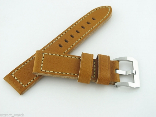 24mm Brown Genuine Leather Watchband Strap with Polished Pre-V Buckle,Watch Accessories parts Free Shipping
