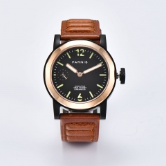 PVD Case, Rose Gold Bezel, Brown Strap
