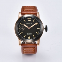 Rose Gold Case, Black Bezel, Brown Strap