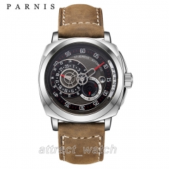 Stainless Steel Case, Brown Strap
