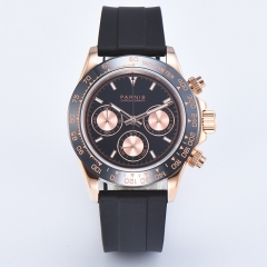 Black Dial Rose Gold Case Rubber Band