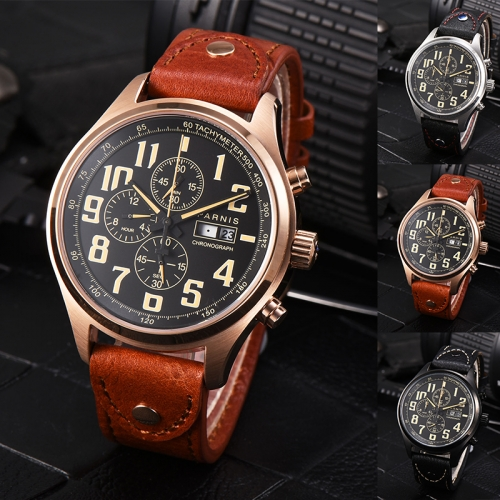 43mm Parnis Sapphrie Miyota Quartz Movement Men Chronograph Watch Date Day Show