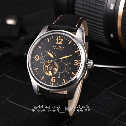 44mm Parnis Miyota Automatic Men's Mechnical Watch 24-hour Dial Sapphire Crystal