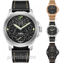 44mm Parnis Hand Winding Movement Men's Watch Sapphire Glass 10ATM Waterproof