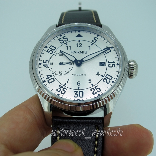 45mm Parnis Automatic Movement Men's Casual Watch Small Second Date Indicator