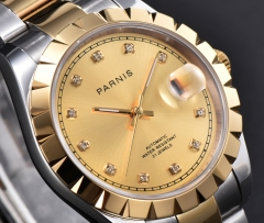 Parnis 39.5mm Men Wristwatch Elegant Diamond Dial Stainless Bracelet Mechanical Watch