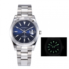 Panirs 39.5mm Miyota Automatic Men's Wristwatch Smooth Bezel Luminous Marker