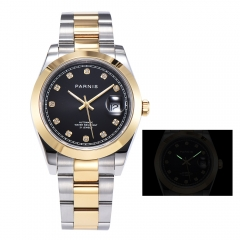 Panirs 39.5mm Smooth Bezel Elegant Diamond Dial Miyota Automatic Men Wristwatch