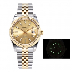 Panirs 39.5mm Stereosc Bezel Elegant Luminous Marker Miyota Automatic Men Watch